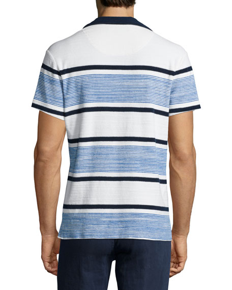 Terry Towel Striped Short-Sleeve Polo Shirt