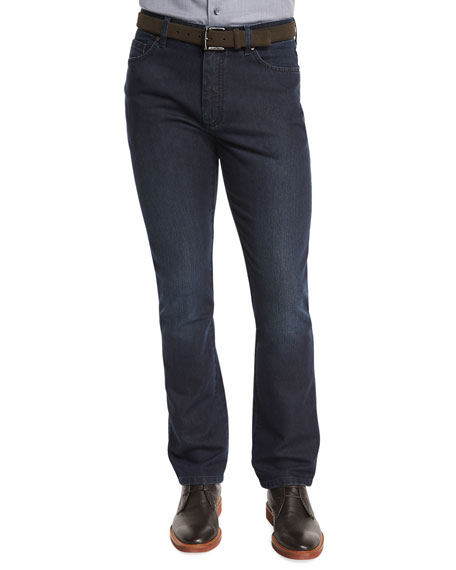 Ermenegildo Zegna Cotton-Silk Five-Pocket Denim Jeans, Dark