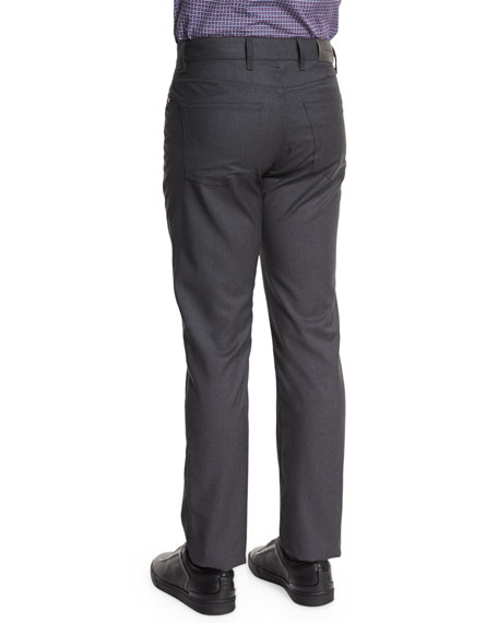 Superfine Wool Five-Pocket Pants, Charcoal