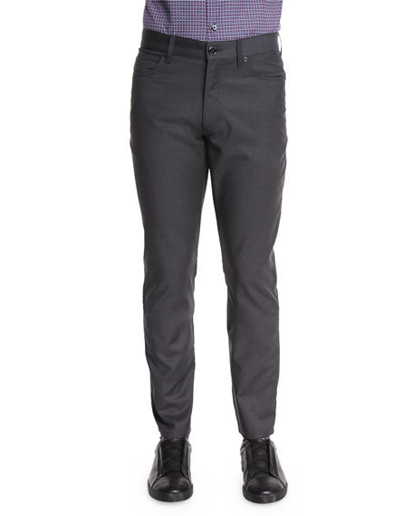 Superfine Wool Five-Pocket Pants, Charcoal