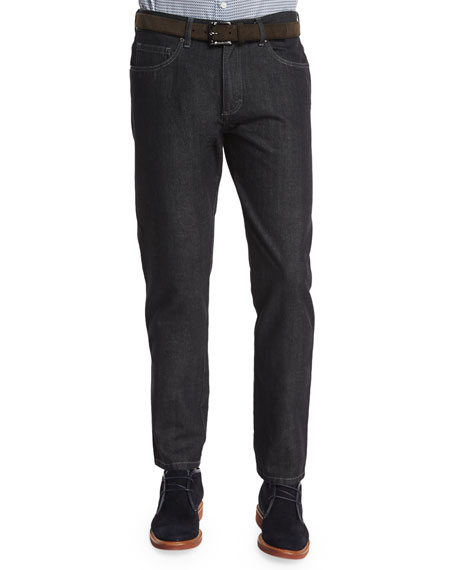 Ermenegildo Zegna Cotton-Silk Five-Pocket Denim Jeans, Black