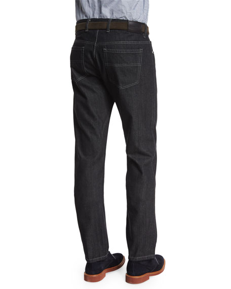 Cotton-Silk Five-Pocket Denim Jeans, Black