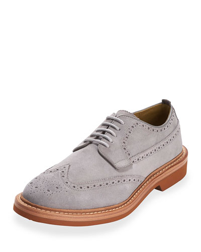 Hammond Suede Wing-Tip Oxford, Ironstone