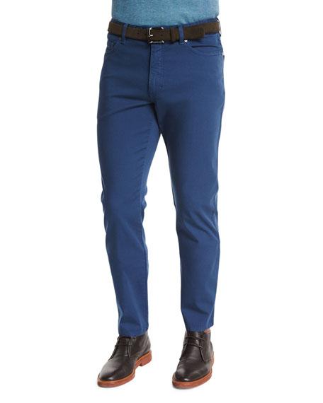 Ermenegildo Zegna Five-Pocket Stretch-Cotton Pants, Medium Blue