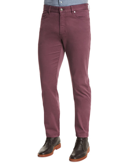 Ermenegildo Zegna Five-Pocket Stretch Pants, Purple