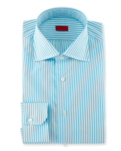 Bengal-Stripe Dress Shirt, Aqua/White