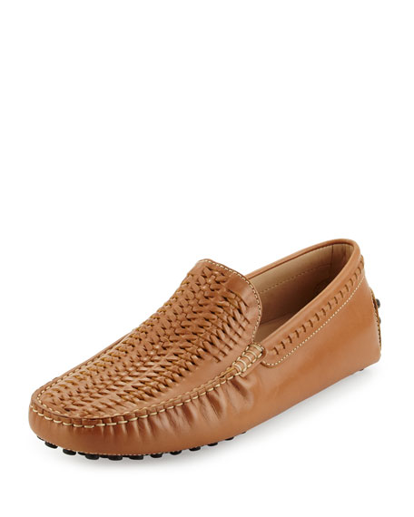 Tod's Gommini Woven Leather Driver, Tan