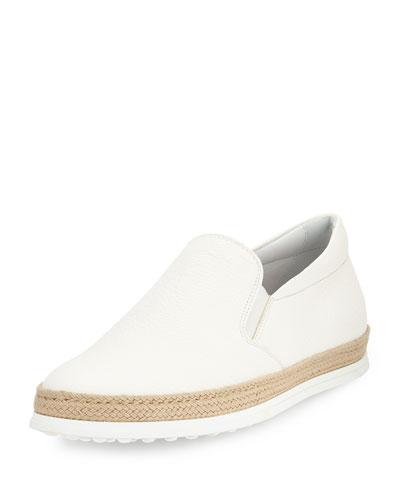 Leather Espadrille Slip-On Sneaker, White