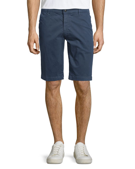 AG Adriano Goldschmied Griffin Flat-Front Shorts, Navy