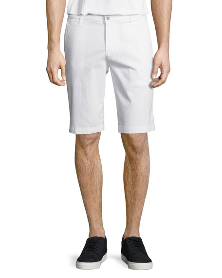 AG Adriano Goldschmied Griffin Flat-Front Shorts, White