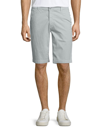 Griffin Flat-Front Shorts, Light Gray