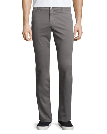 AG Adriano Goldschmied Lux Slim-Fit Chino Pants, Gray