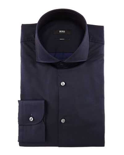 Jery Solid Woven Dress Shirt, Navy
