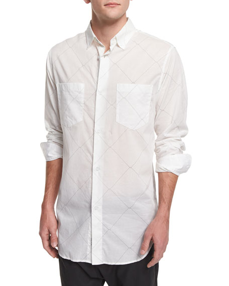 Rag & Bone Printed Long-Sleeve Sport Shirt, White