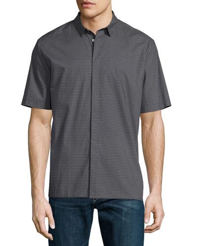 Exeter Micro-Print Short-Sleeve Shirt, Smoked Pearl
