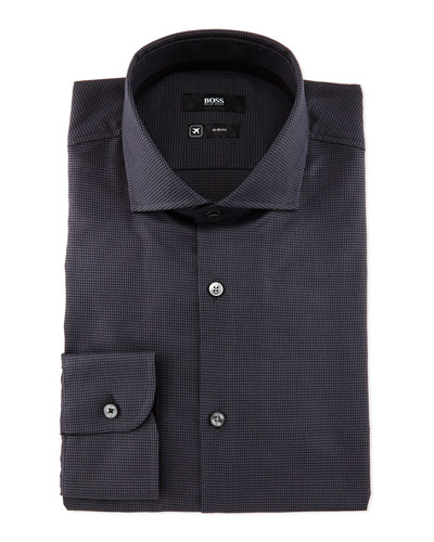 Jery Slim-Fit Puppytooth Dress Shirt, Black/Gray