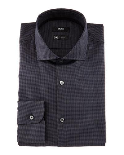 Jery Slim-Fit Puppytooth Dress Shirt, Black/Gray