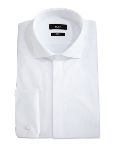 Jonathan Textured Bib Long-Sleeve Tuxedo Shirt, White