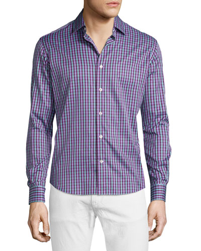 Multi-Plaid Long-Sleeve Sport Shirt