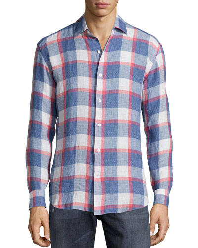 Plaid Linen Long-Sleeve Sport Shirt, Navy/Red/White