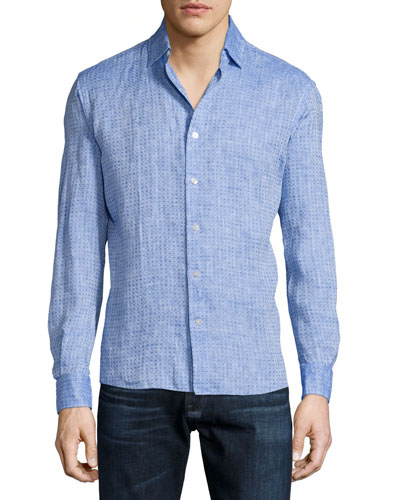 Diamond-Print Long-Sleeve Linen Shirt, Blue