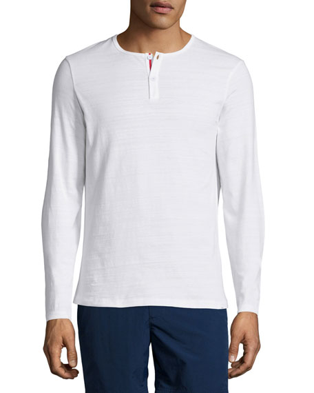 Orlebar Brown Long-Sleeve Henley Shirt, White