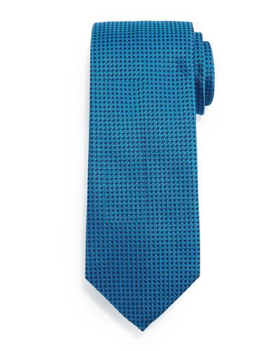 Micro-Diamond Print Silk Tie, Teal