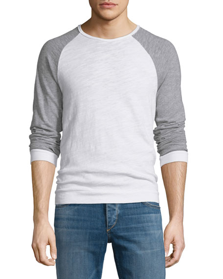 Rag & Bone Colorblock Raglan-Sleeve Crewneck Shirt, White/Gray