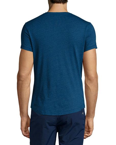 V-Neck Short-Sleeve Jersey T-Shirt, Denim Pigment