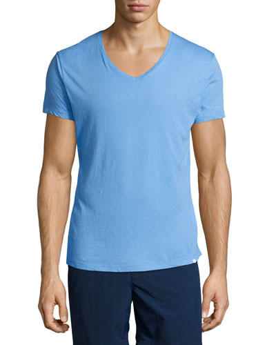 Riviera V-Neck Short-Sleeve Tee, Blue