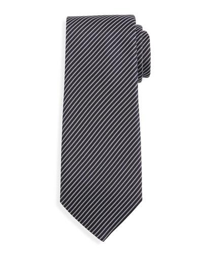 Microstripe Silk Tie, Navy