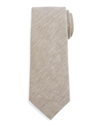 Herringbone-Chambray Tie, Tan