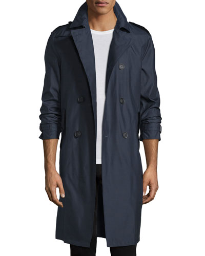 Wool-Blend Double-Breasted Trenchcoat, Navy