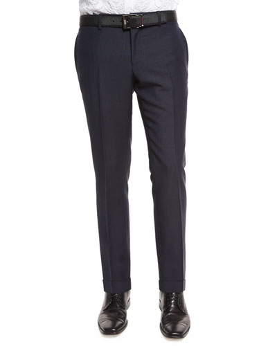 Wool-Mohair Slim-Fit Trousers, Indigo