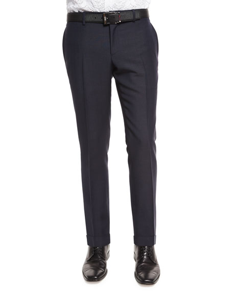 Burberry Wool-Mohair Slim-Fit Trousers, Indigo