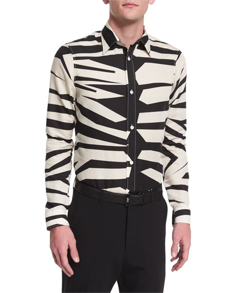 Burberry Prorsum Animal-Print Long-Sleeve Shirt, Natural White