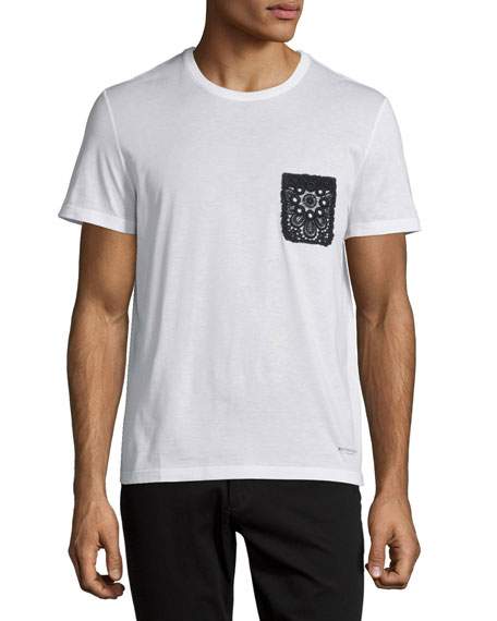 Burberry Prorsum Lace-Pocket Short-Sleeve T-Shirt, White