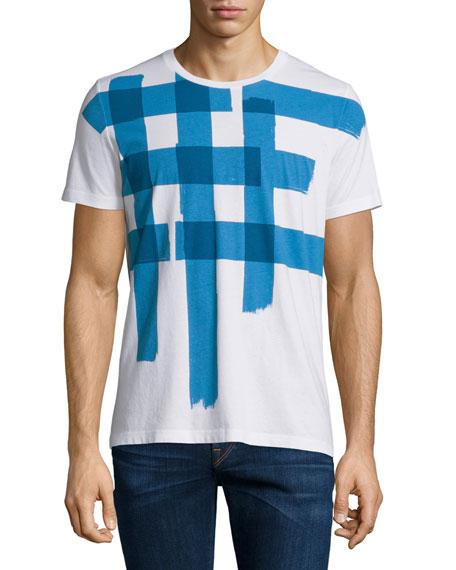 Burberry BritLarge Check-Print Short-Sleeve T-Shirt, White/Blue