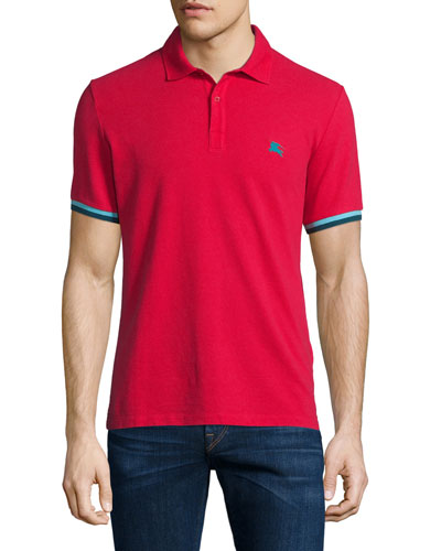 Contrast-Cuff Short-Sleeve Pique Polo Shirt, Military Red
