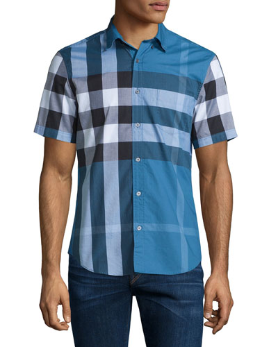 Exploded Check Short-Sleeve Shirt, Lupin Blue