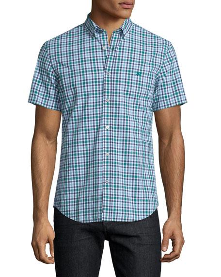 Burberry Brit Seersucker Gingham Short-Sleeve Shirt, Aqua Green