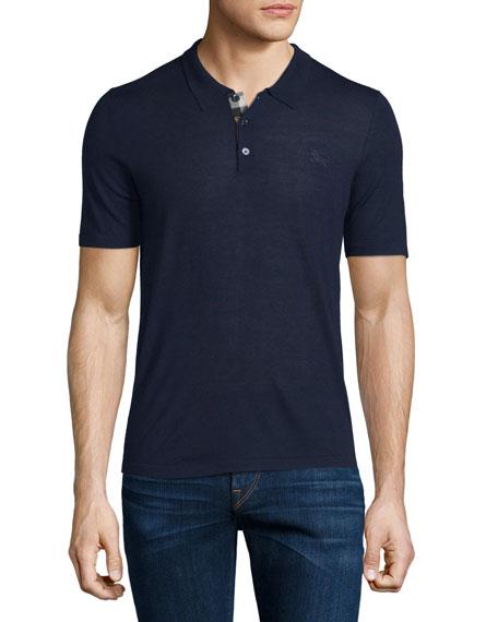 Burberry BritShort-Sleeve Check-Placket Polo Shirt, Indigo Blue