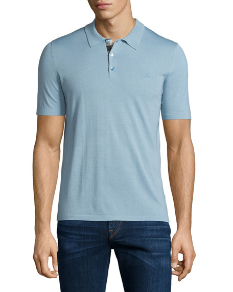 Burberry Short-Sleeve Check-Placket Polo Shirt, Pale Sky Blue