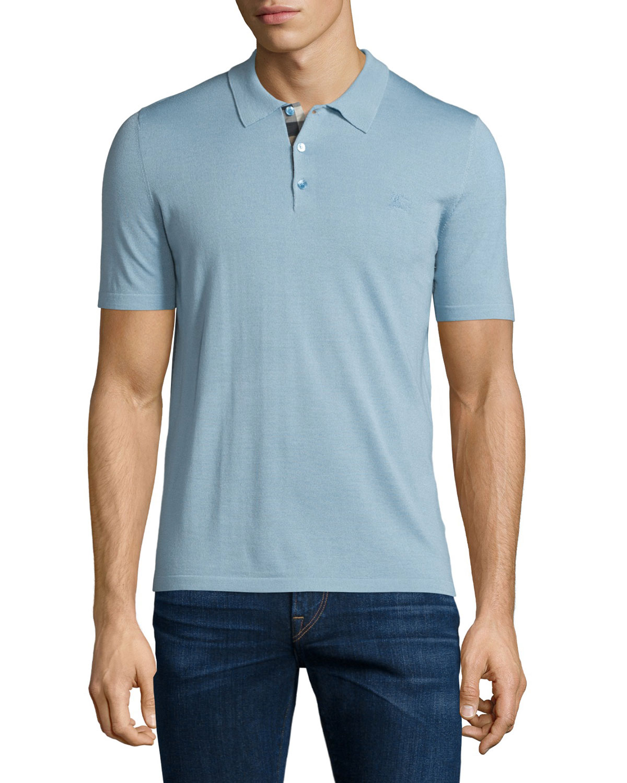 Burberry Short Sleeve Check Placket Polo Shirt Pale Sky Blue