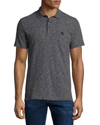Seersucker-Stripe Short-Sleeve Polo Shirt, Navy
