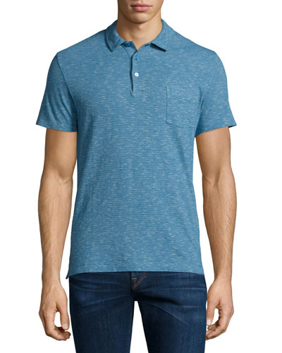 Seersucker-Striped Short-Sleeve Polo Shirt, Lupin