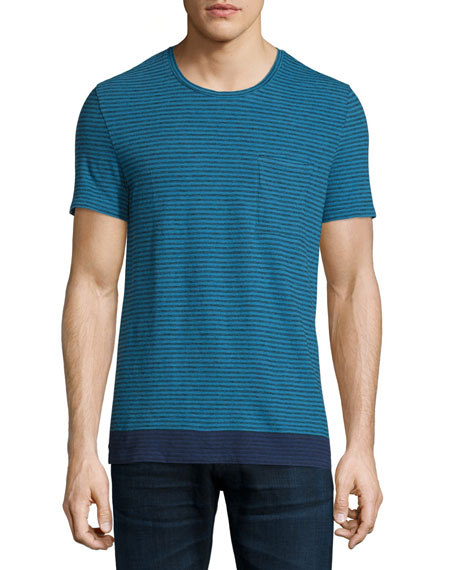 Burberry Brit Seersucker-Pinstripe Short-Sleeve T-Shirt, Lupin Blue