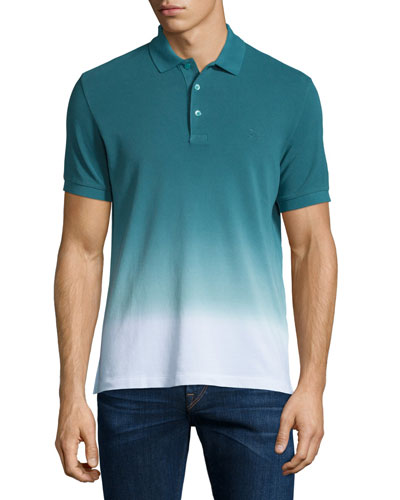 Dip-Dyed Ombre Short-Sleeve Polo Shirt, Deep Viridian Green