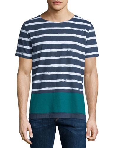 Hand-Painted Striped Short-Sleeve T-Shirt, White/Green