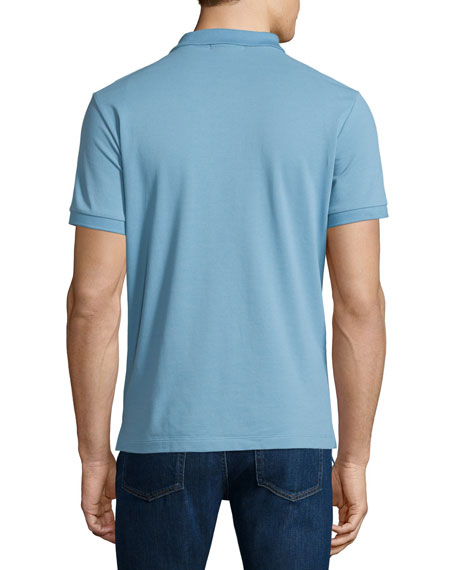 Short-Sleeve Oxford Polo Shirt, Pale Blue